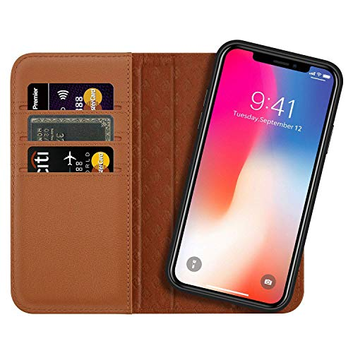 Zover Compatible with iPhone Xs/X Case Detachable Genuine Leather Wallet Case Support Wireless Charging Magnetic Car Mount Holder Kickstand Feature Magnetic Closure Gift Box Brown