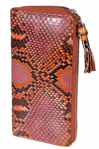 Gucci Women's Python Snakeskin Bamboo Zip Around Wallet (Vibrant Orange)