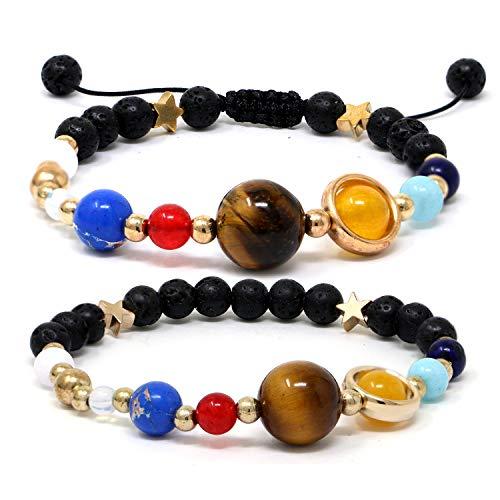 (Qunan Women Men Chakra Bead Bracelets Solar System Bracelet 8mm Natural Lava Rock Stones 7 Chakras Aromatherapy Essential Oil Diffuser Bracelet Yoga Beads Anxiety Planets Bracelet)