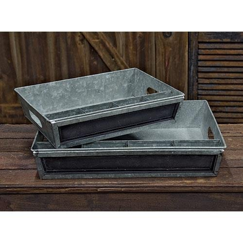 Heart of America Galvanized Divided Trays - Set of 2