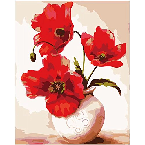 SUBERY DIY Oil Painting Drawing, Paint by Number Kit for Adults Girls Kids Gift - A Pot of Bright Red Flowers 16x20 inch (Frameless) (Drawing Of A Flower In A Pot)