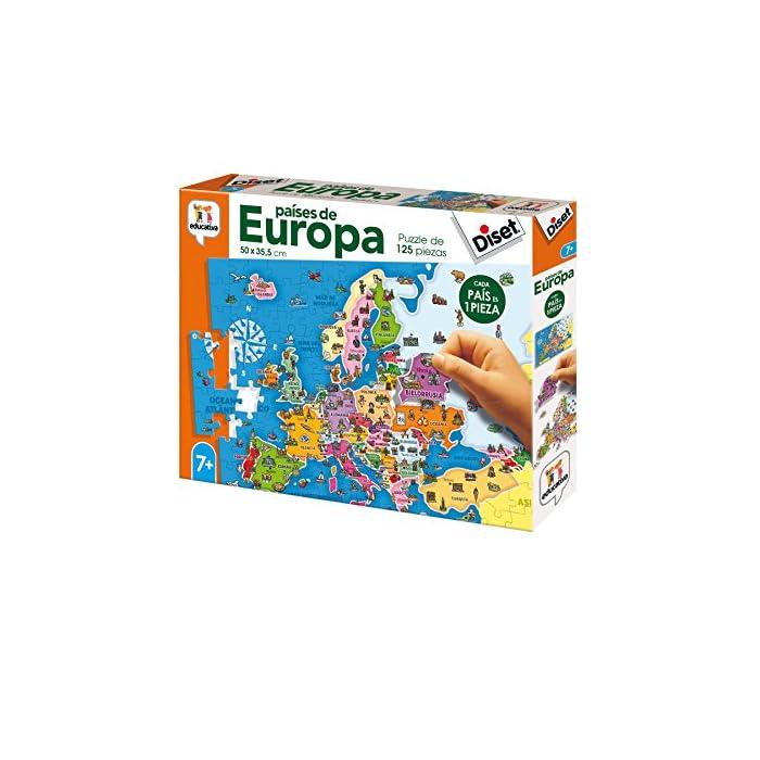513rMCkQuBL Puzzle educativo de los países de Europa; una forma divertida de aprender la geografía europea y alguno de sus elementos culturales más característicos Cada país es una pieza, eso favorece el aprendizaje de cada país (con un color y forma diferentes)… y ayuda a entender el concepto de país y continente Desarrolla la capacidad de concentración y de relacionar; mejora la coordinación ojo-mano y la motricidad fina; mapa Actualizado