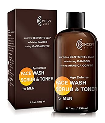 Best Cheap Deal for Age Defense Face Wash, Scrub & Toner for MEN 8 OZ, Coffee, Bentonite Clay & Bamboo - Anti aging Face Wash, Exfoliating Scrub + Toner All in One - Natural - Paraben + Sulfate Free, Concept Skin from CONCEPT SKIN - Free 2 Day Shipping Av