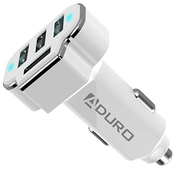 Aduro 4 Port Car Charger Adapter, 12V Fast Car Charger USB Adapter Power Station 5.2A/26W Output (White)