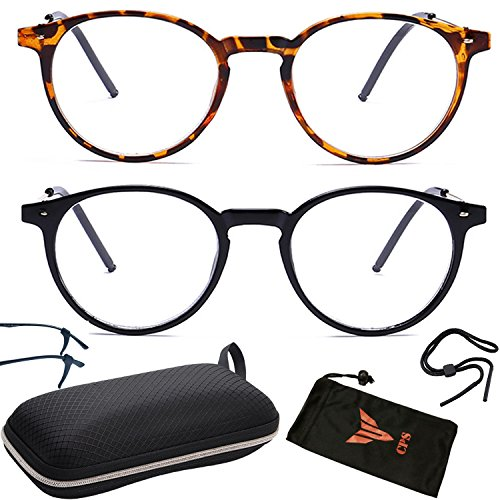 (#NS-RND 2PK-1.5) 2 Pairs Round Circle Shape Adult Nearsighted Distance Driving Glasses Shortsighted Clear Vision UV Protection Comfort - Nearsighted Sunglasses