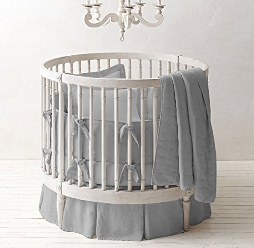 Unisex Nursery Baby Bedding Round Crib Multi Pleated Skirt Solid Pattern 500 TC Egyptian Cotton (Light gray,Round Crib) ()