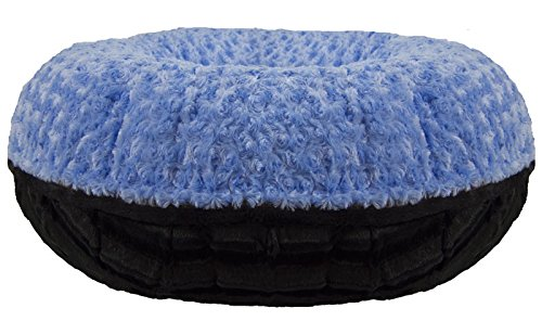 Bessie and Barnie Signature Black Puma/ Blue Sky Extra Plush Faux Fur Bagel Pet / Dog Bed (Multiple Sizes) Review