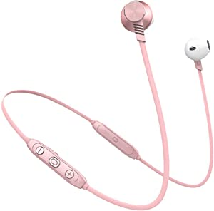 Bluetooth Earbuds, L5 Pro Wireless Earbuds, Stereo Bass Headphones for Sports and Up to 10 Hours Playtime Compatible with Apple iPhone and Andorid (Rose Gold, Bluetooth 4.2, IPX4) (Pink)