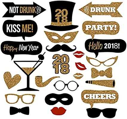Amazoncom Veewon 2018 New Years Eve Party Photo Booth Props 26pcs