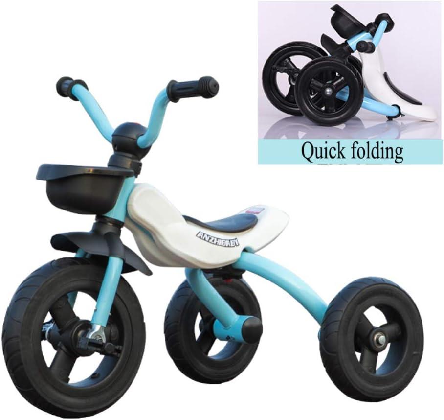 GIFT Triciclos para Niños Plegables con Función Triciclo De 3 Ruedas para Bicicletas De 2 A 6 Años (tamaño del Cuerpo: 90-120 / CM), Vehículo Infantil Estable Juguete De Regalo,Blue