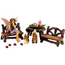 Fairy Garden Fairy - Miniature Furniture & Accessories – Fairy Figurine – 14 Piece Starter Kit by Pretmanns