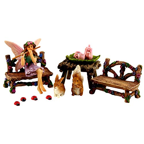 Fairy Garden Fairy - Miniature Furniture & Accessories – Fairy Figurine – 14 Piece Starter Kit by Pretmanns