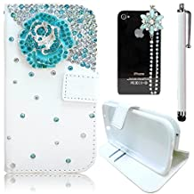 Sunroyal Samsung Galaxy S6 Edge G9250 SM-G925 Leather Case [ not for Samsung GalaxyS6 Edge Plus ] Phone Case Premium PU Leather Purse Wallet Folding Flip Folio Case Protection Soft TPU Back Case Cover in Book Style Shiny Sparkling Glitter Bling Rhinestone Diamond Crystal Shell Skin Case Cover with Magnetic Closure [ Card Slots ] [Stand Function ] + 1x Bling Glitter Crystal Rhinestone Diamond Pendant Anti Dust Plug + 1x Metal Stylus Touch Pen ,Blue Flower Pattern Case
