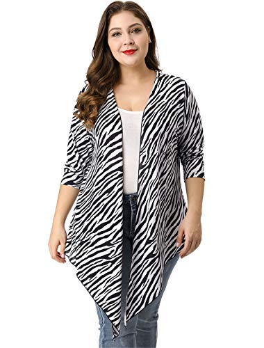 (Kaia Women's Plus Size Zebra Prints Open Front Drape Cardigan White Black)