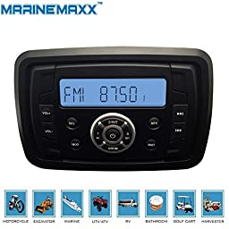 MarineMaxx Marine Stereo Audio MP3 Radio FM AM Bluetooth Music for ATV UTV RZR XP900 Motorcycle Powersports Boat Golf Cart Truck SPA Heavyduty Sound System with Audio Input