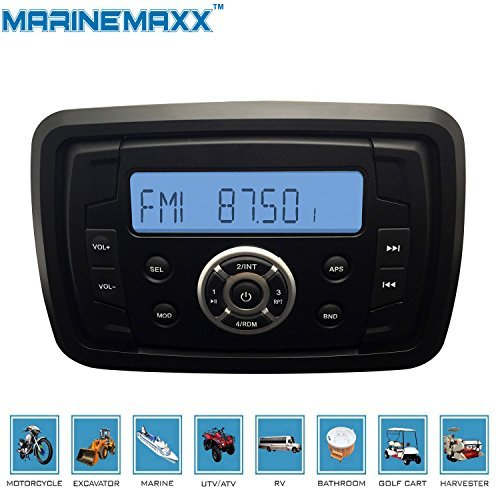 MarineMaxx Marine Stereo Audio MP3 Radio FM AM Bluetooth Music for ATV (Am Cycles)
