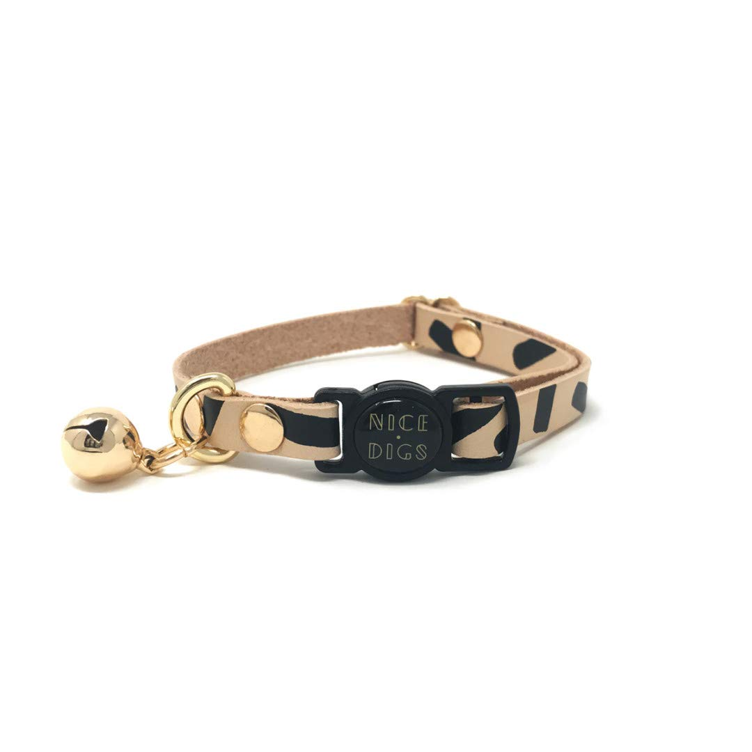 Tiggy Leather cat Collar in Black by Nice Digs