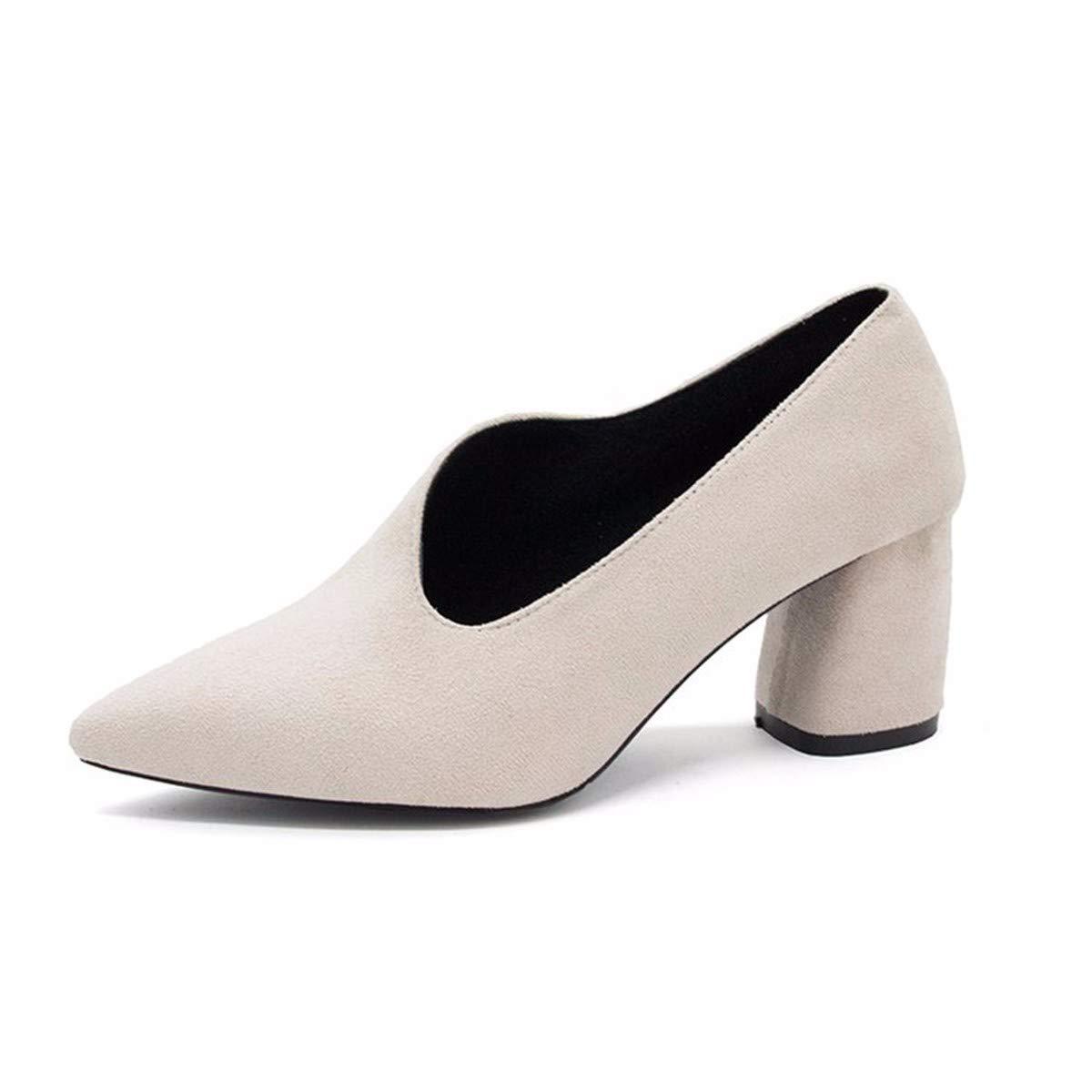 GTVERNH Damenschuhe/Mode/Grobe mit Einem Spitzen Schuh Ein Paar Schuhe aus Mitte Damenschuhe Im Frühjahr.