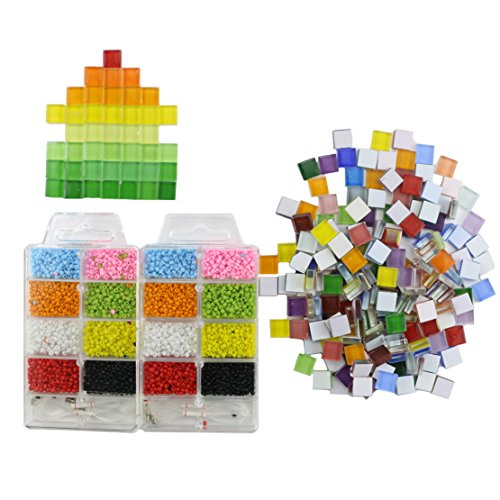 Acrylic Mosaic (Nextnol Kid DIY Round Plastic Beads Colorful Beads Acrylic Beads and 200g DIY Mosaic)
