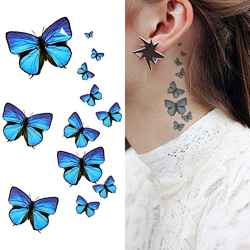 Oottati Small Cute Temporary Tattoo Blue Butterfly (2 Sheets)]()