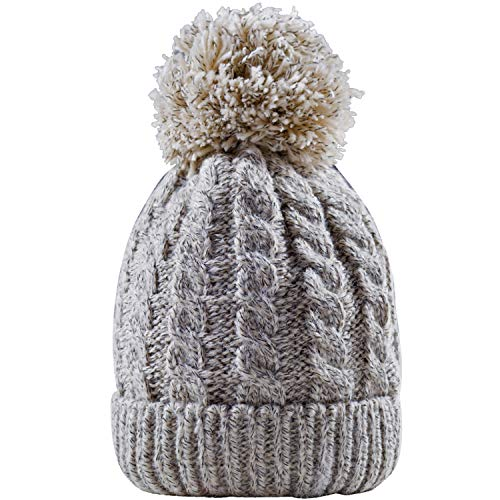 - Women's Winter Beanie Warm Fleece Lining - Thick Slouchy Cable Knit Skull Hat Ski Cap (Cream)