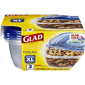 Glad Food Storage Containers  - Family Sized Container - 104 Ounces - 3 Containers