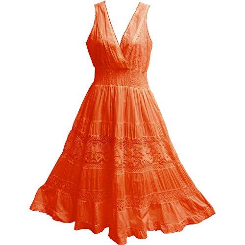 Yoga Trendz Missy & Plus Indian Cotton Embroidered Lace Sleeveless Long Dress (Small/Medium, Orange)
