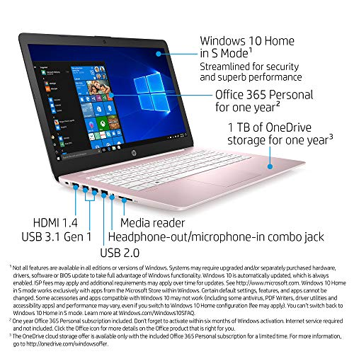 HP Stream 14-inch HD Touchscreen Laptop, Intel Celeron N4000, 4 GB RAM, 64 GB eMMC, Windows 10 Home in S Mode with Office 365 Personal for 1 Year (14-cb194nr, Rose Pink)
