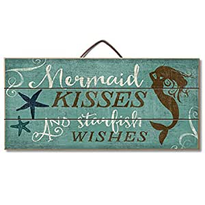 """Highland Graphics Beach Decor Wood Sign Reads """"Mermaid Kisses and Starfish Wishes"""" Table or Wall Decor"""