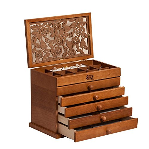 HYT Rose Carved Six Layer Jewelry Box Burlywood