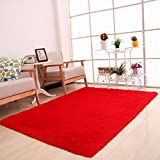 CYCTECH Soft Indoor Modern Shaggy Area Rugs Fluffy Rugs Anti-Skid Dining Room Home Bedroom Carpet Floor Mat Girls Room Baby Nursery Decor Kids Room Carpet 80x120cm (Red)