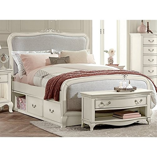 Hillsdale Kids and Teens 20025NS Kensington Katherine Upholstered Panel Bed with Storage, Full, Antique White by Hillsdale Kids and Teens