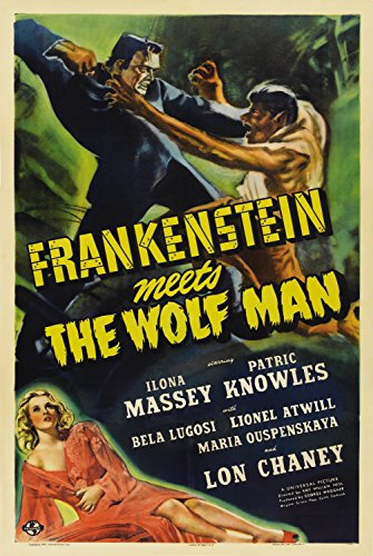 Old Tin Sign Poster - Frankenstein Meets The Wolf (Stuff Inside Tin Sign)