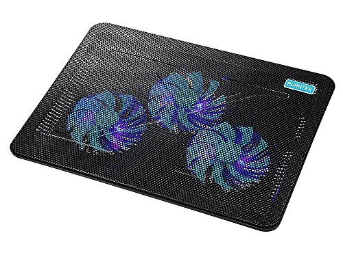 AVANTEK 15''-17'' Ultra Slim Laptop Cooling Pad, 3 Quiet Fans Notebook Cooler, Chill Mat with Adjustable Mounts