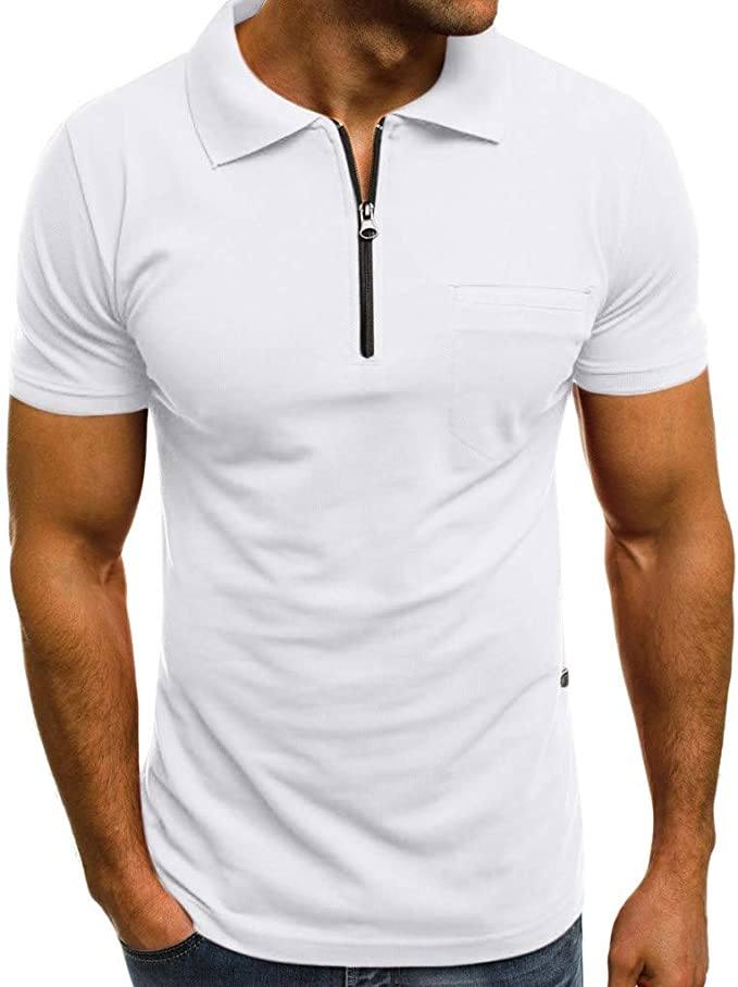 waotier Camiseta De Manga Corta De Hombre Camiseta con Cremallera ...