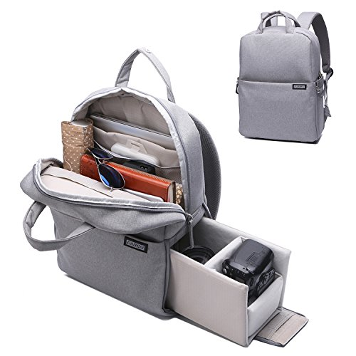 Camera Backpack DSLR/SLR Camera Bag Multifunction Travel Outdoor Waterproof Tablet Laptop Bag for Sony Canon Nikon - Silver Grey by Caden
