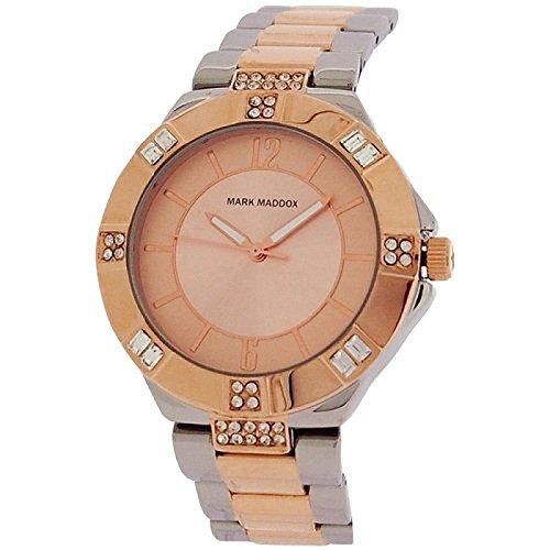 Mark Maddox Ladies Rhinestone Set Bezel Two Tone Bracelet Strap Watch MM6001-95