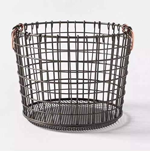 Threshold Milk Crate Wire Baskets - Antique Pewter with Copper Colored Handles (Medium Round) (Storage Coloured Wire Baskets)