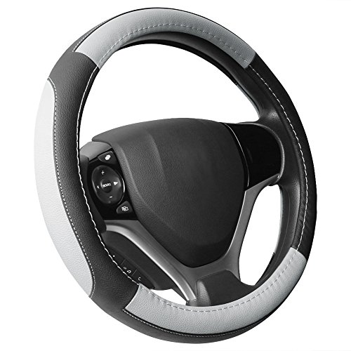"SEG Direct Black and Gray Microfiber Leather Steering Wheel Cover for Prius Civic 14"" - 14.25"""