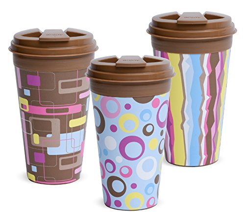 16 Ounce Traveler Mug (Easy Traveler Retro Collection Insulated Travel Mug, 16 Oz., Set of 3)
