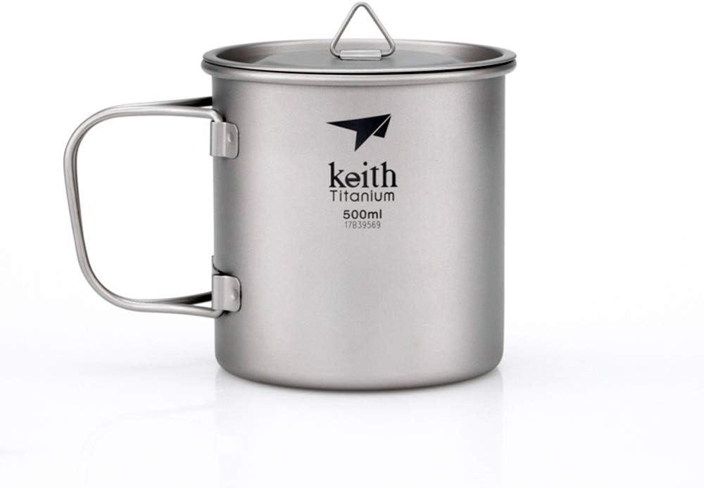 Taza de titanio de Keith, con mango plegable, ideal para llevar a acampadas, picnics y otras salidas en exteriores
