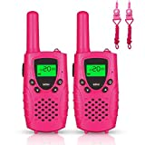 FAYOGOO Kids Walkie Talkies, 22-Channel FRS/GMRS Radio, 4-Mile Range Two Way Radios with Flashlight and LCD Screen. 2 Pack, Pink