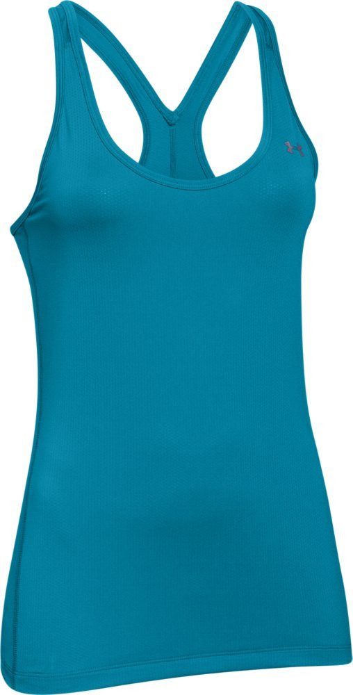 Under Armour Women's HeatGear Armour Racer Tank Top, Aqua Blue (908)/Metallic Silver, Small by Under Armour (Image #1)