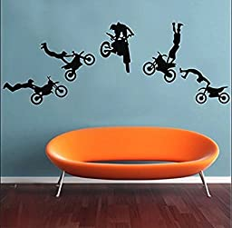 Motocross Wall Decals Motocross Graphic Extreme Sport Silhouette Removable Wall Art DIY Vinyl Wall Sticker