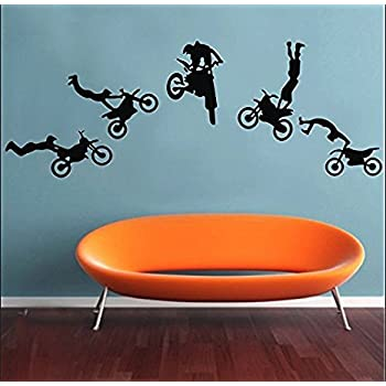 Motocross Wall Decals Motocross Graphic Extreme Sport Silhouette Removable  Wall Art DIY Vinyl Wall Sticker Part 60