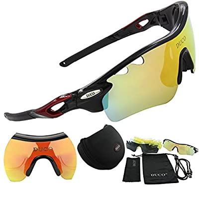 DUCO POLARIZED Sports Sunglasses UV400 Protection Cycling Glasses With 5 Interchangeable Lenses for Cycling, Baseball ,Fishing, Ski Running ,Golf
