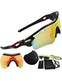 POLARIZED Sports Sunglasses UV400 Protection Cycling Glasses With 5 Interchangeable Lenses for Cycling, Baseball,Fishing, Ski Running,Golf