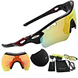 Polarized Sports Sunglasses Cycling Glasses with 5 Interchangeable Lenses (Black)