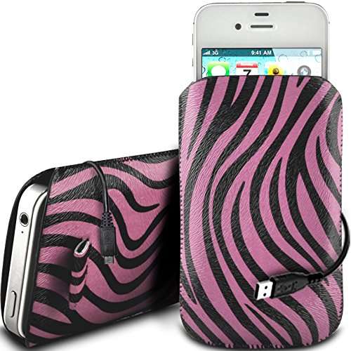 N4U Online - Apple Iphone 5S protection en cuir PU Zebra Conception Pull Tab cordon glisser Housse Etui Quick Release et de données USB Câble de charge - Rose