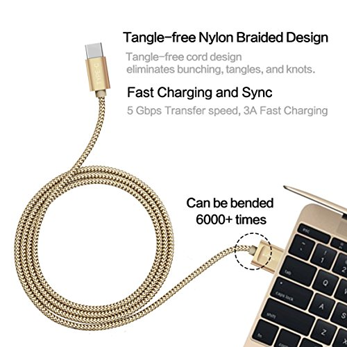 USB Type C Cable, JS USB C to USB 3.0 Cable Hi-speed Nylon Braided 56k? Cable with Cable Tie for the Apple New Macbook Pixel XL Nexus 5X 6P LG G5 HTC 10 and More